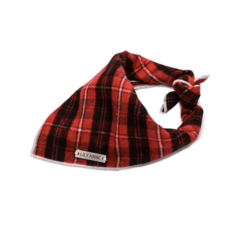 astin red dog bandana plaid