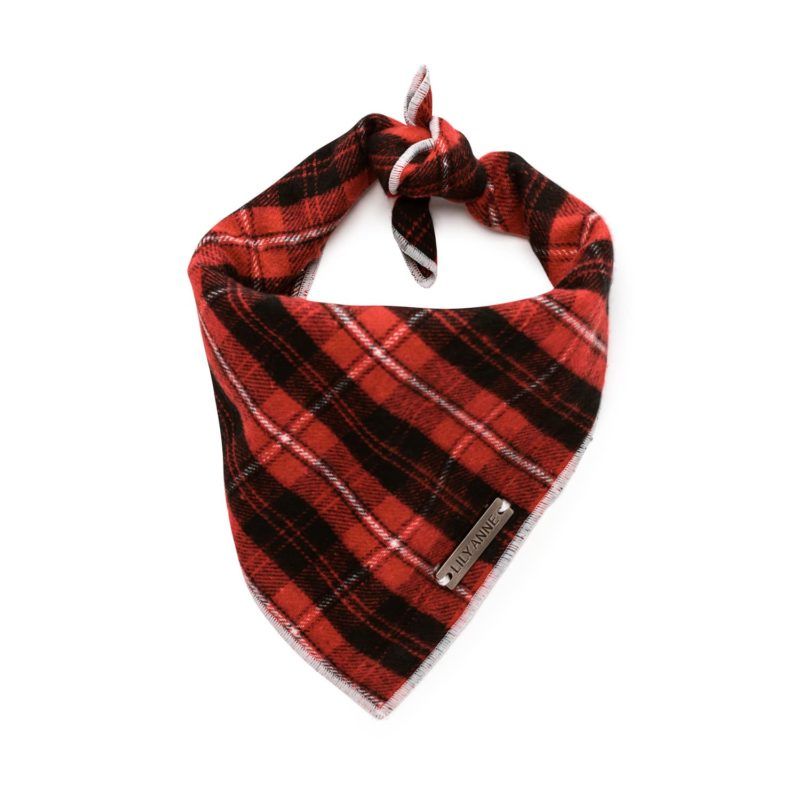 red plaid dog bandana Astin 2